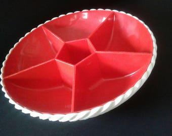 70s Vintage Snack Bowl made by EMSA in Red and White