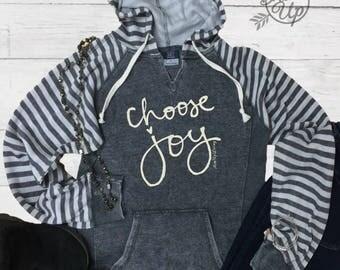 Choose Joy, Super Soft Hoodie, Striped Hooded, Ladies Hoodie, Faith, Inspirational, Women's Hooded Sweatshirt,Christian Shirt,Christian gift