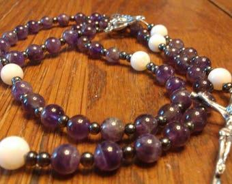 Catholic Rosary, Amethyst, River Shell, 5 Decade Rosary, Gemstone, Semi-Presious, Small 5 Decade Rosary, Heirloom Quality, Flex Wire
