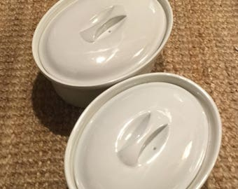 Vintage APILCO, FRANCE, Pair of White Oval Casserole Dishes