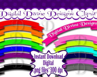 Banners - Digital Clip Art Set  - Instant Download - .png files, Transparent Background
