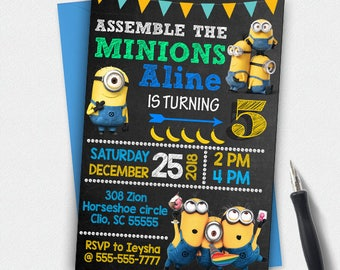 Minion Invitation,Minion Birthday,Minion Party,Minion Birthday Invitation,Minion Printable,Minions Birthday Party,Minion Invite