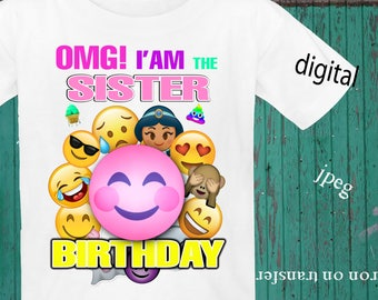 INSTANT DOWNLOAD, Emoji, Iron On Transfer, Emoji Birthday Shirt, Emoji Transfer, Emoji Party, Digital Design, JPEG, Sister
