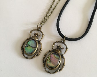 Antique brass beetle suede cord/chain necklace/choker //