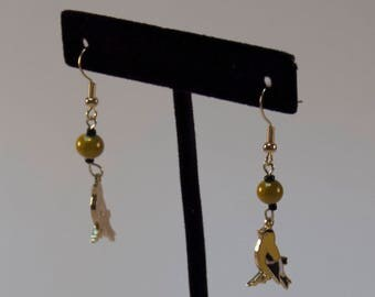 Fly Free - Baltimore Oriole Yellow Bird Earrings