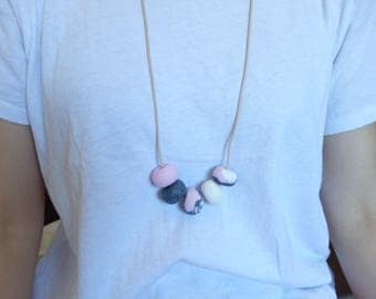 Pink and grey necklace