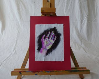 """Original hand drawn watercolor and pen drawing of hand on printer paper mounted on 9"""" by 12"""" red construction paper"""