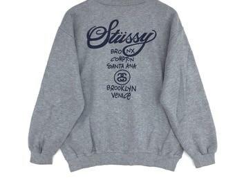 Stussy Sweatshirt silver colour Big Logo Embroidery Sweat Medium Size Jumper Pullover Jacket Sweater Shirt Vintage 90's