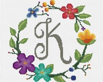 Monogram K wreath cross stitch pattern (PDF file only)