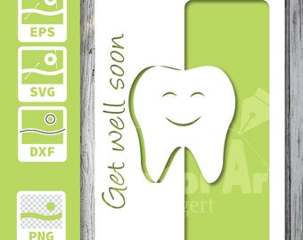 Cuttable and printable Card - Get well soon, after dentist