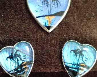 South Pacific matching pendant and earrings from 1945