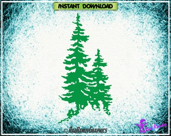 Pine Trees, Design Element, Cut Files, EPS, SVG, PNG, Vector