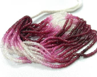 2.5-3mm Micro Ruby Shaded Rondelle Faceted Beads 16 Inch Strand - Precious Gemstone - Micro Ruby Shaded - Pink Beads - Tiny Ruby Shaded Bead