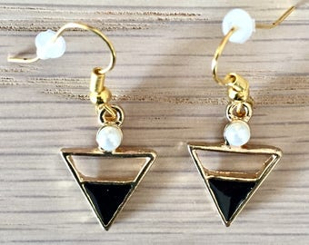 Triangular black enamel and gold earrings