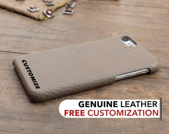 Leather iPhone 8 Case, Personalized iPhone 8 Plus Cover, Genuine Leather Case for iPhone 8 / 8 Plus, iPhone 8 Custom Engrave Case, Beige