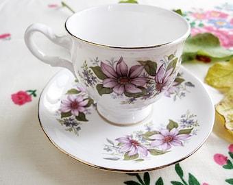 Royal Kent Bone China England Teacup and Saucer Set. Vintage Ware.