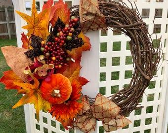 Warm Orange and Gold Fall Pumpkin Wreath Thanksgiving