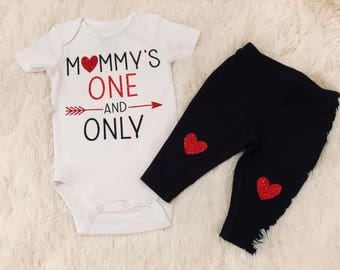 Baby Girl Valentines Day Onesie,Mommy's One And Only,Baby Girl Heart Leggings,