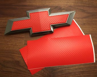 2 Red Carbon Fiber Vinyl Sheets for Chevy Emblem Overlay Decal