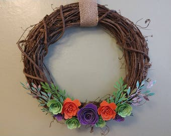 """16"""" Spring Wreath with Grapevine and Paper Flowers"""