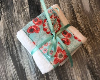 Flowers and butterflies - flannel burp cloths
