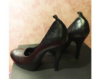 Black. leather high heels