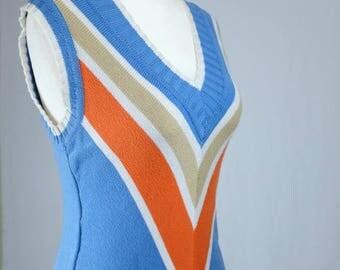 Vintage Chevron Sweater Vest, 1970's 1980's  Striped, Layer, V-neck