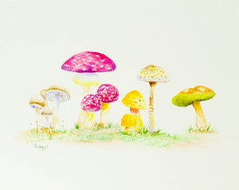 Mushroom Watercolor Painting Forest Nursery Wall Art Woodland Nursery Decor Mushroom Wall Art Nature Inspired Watercolor Nature Lover Gift