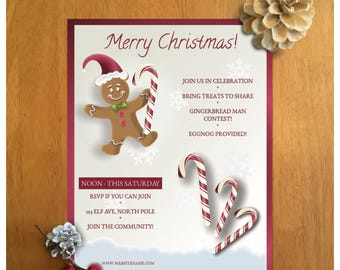 Gingerbread man Christmas flyer or Christmas baking flyer. A gingerbread man flyer for that winter holiday x-mas baking event