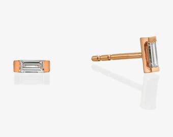 Diamond Stud Earrings,  Baguette Cut Diamond Studs,  14k Gold Earrings, Simple Diamond Stud Earrings Anniversary Gift