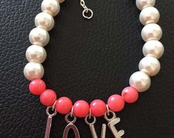 Letters.  Love Pink coral pearly bracelet