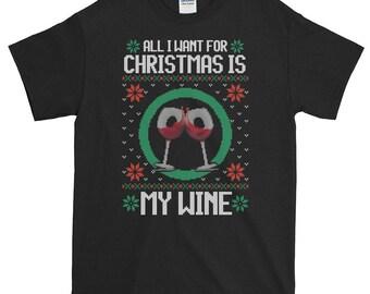 Funny Christmas Wine Drinking Shirt - Funny Xmas Men Women Short-Sleeve T-Shirt