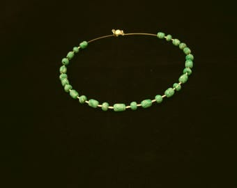 Green/white polymer clay beaded necklace with memory string