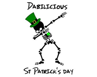 Dab skeleton shamrock SVG, Dab st Patricks vector, PNG, Dabbing skeleton Cut Files, Svg Files, Cricut Files, Dab skeleton Silhouette Files