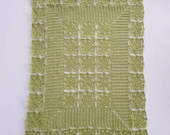 Rectangle Green Crochet doily. 45×60 cm.