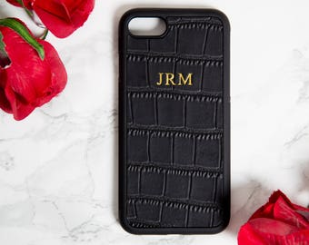 iphone 7 Plus case, personalised leather, iphone 8 Plus case, Black Croc, Customised, embossed, phone cover, monogrammed,iphone 8+,iphone 7+