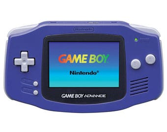 Gameboy Advance & 369 Games + Worm light. Purple Console with Box. GBA