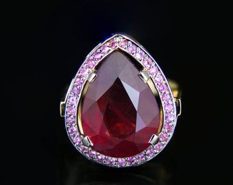 10.9 ct. Ruby And Sapphires Gold Ring. Free shipping.