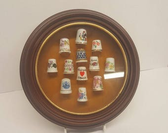 12 Porcelain Thimbles Set with Round Wood Display Case