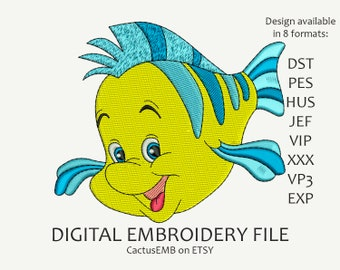 INSTANT DOWNLOAD - Flounder machine embroidery design. For kids. For children. Little Mermaid. Embroidery design
