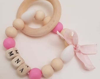 Personalised with initials*wooden & silicone teething rattle/bracelet*baby pink*gift*christening*bow*BPA FREE
