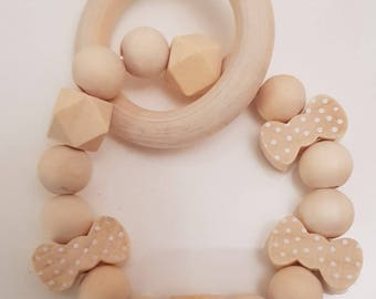 wooden teething rattle/bracelet*natural*gift*christening*bow tie