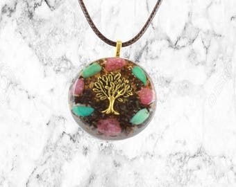 Organite Pendant-Tree Of Life (Pink Tourmaline-Clear Quartz) - 528hz