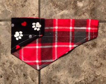 Paw Print Bandana, Red and Black Plaid Bandana, Reversible Over the Collar Bandana