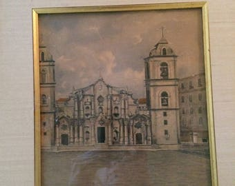 Gumersindo Barea (Cuba 1901 - 1965), Original Watercolor, Cathedral