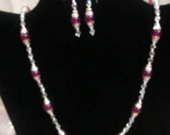 S.S.  Jade & Crystal Necklace and Earrings