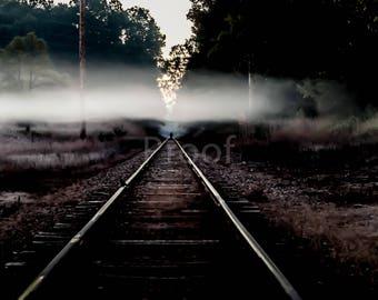 Railroad Photo Canvas, Fog, Wall Art, Landscape Photo, Mysterious, Wall Decor, Living Room, Train