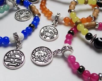 SCORPIO Zodiac Sign Glass Wood Bead Bracelet Evil Eye Protection Luck Charm