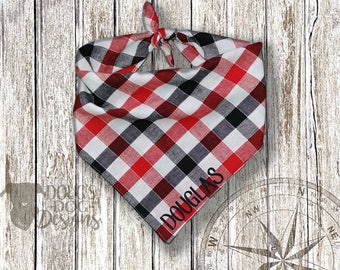 Red and Navy Plaid Custom Dog Bandana with Your Dog's Name