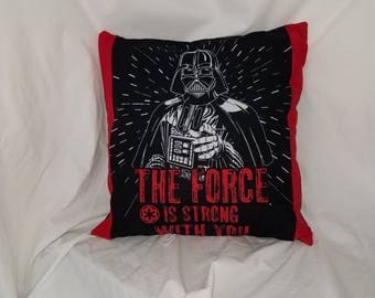 Red Darth Vader Accent pillow cover with lightsabers on back, geek gift, Star Wars Pillow, nerd gift, sci fi gift, Nerd decor, home decor